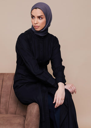 Crochet Trim Abaya Black