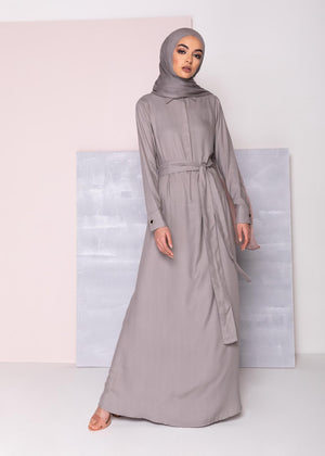 Mid Placket Abaya Ash Grey Aab