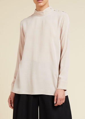 Nude Side Button Top
