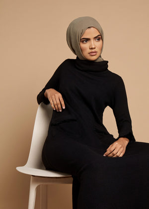 Roll Neck Abaya Black