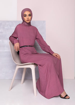 Subtle Pleats Abaya Pink Aab