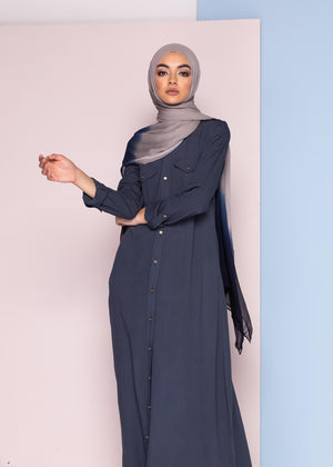 Utility Shirt Dress Denim Blue Aab