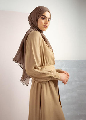 Tan Wrap Neck Abaya by Aab