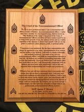 Load image into Gallery viewer, Army - NCO Creed Plaque - Pikes Peak Laser Creations