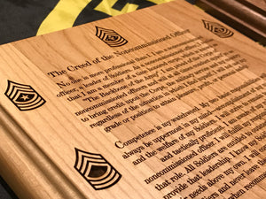 Army - NCO Creed Plaque - Pikes Peak Laser Creations