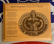 Load image into Gallery viewer, Army - Drill Sergeant Badge & Creed Plaque - Pikes Peak Laser Creations