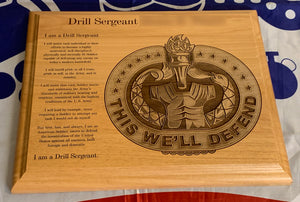 Army - Drill Sergeant Badge & Creed Plaque - Pikes Peak Laser Creations