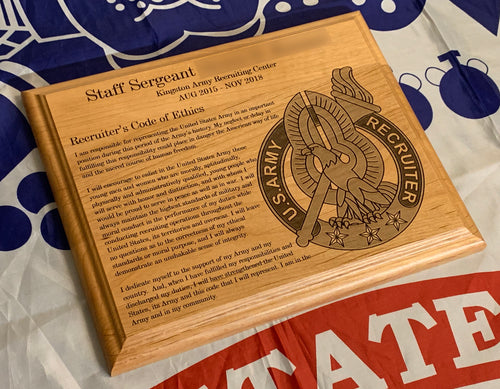Army - Recruiter Badge & Code of Ethics Plaque - Pikes Peak Laser Creations