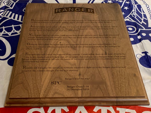 Army - Ranger Tab & Creed Plaque - Pikes Peak Laser Creations