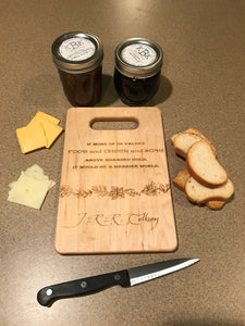 Lord of the Rings - Food and Cheer and Song Above Hoarded Gold - JRR Tolkien Quote Cutting Board - Pikes Peak Laser Creations
