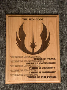 Star Wars - Jedi Code Plaque - Pikes Peak Laser Creations