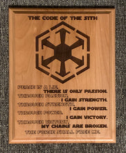 Load image into Gallery viewer, Star Wars - Sith Code Plaque - Pikes Peak Laser Creations