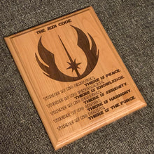 Load image into Gallery viewer, Star Wars - Jedi Code Plaque - Pikes Peak Laser Creations