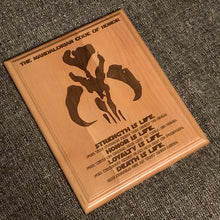 Load image into Gallery viewer, Star Wars - Mandalorian Code Plaque - Pikes Peak Laser Creations