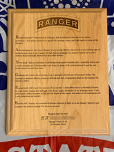 Load image into Gallery viewer, Army - Ranger Tab & Creed Plaque - Pikes Peak Laser Creations