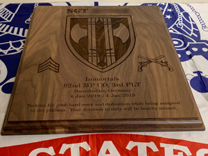 Army - PCS/ETS Plaque - Pikes Peak Laser Creations
