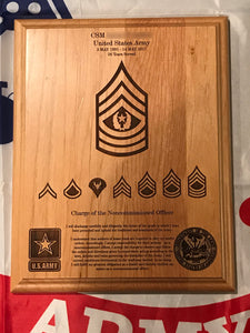 Army - Promotion/Retirement Plaque - Pikes Peak Laser Creations