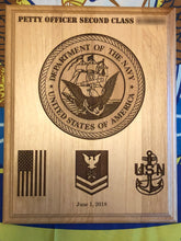 Load image into Gallery viewer, Navy - Emblem/Promotion Plaque - Pikes Peak Laser Creations