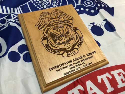 Army - Military Police Badge Plaque - Pikes Peak Laser Creations
