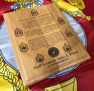 Marine Corps - Staff NCO Creed Plaque - Pikes Peak Laser Creations