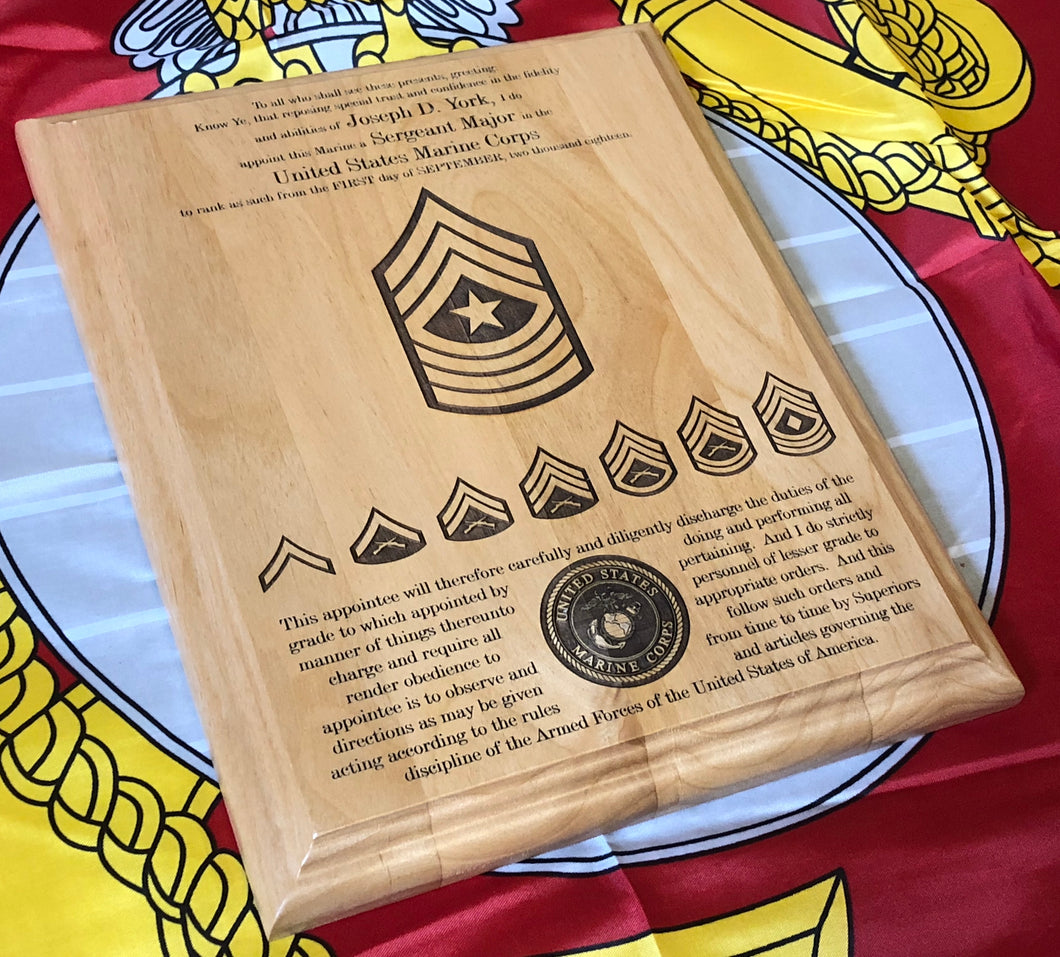 Marine Corps - Staff NCO Promotion/Retirement Plaque - Pikes Peak Laser Creations