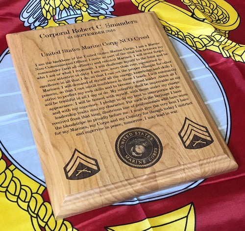 Marine Corps - NCO Creed Plaque - Pikes Peak Laser Creations