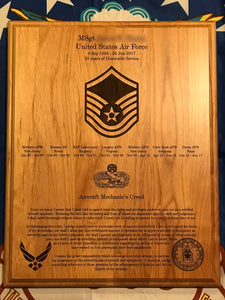Air Force - Retirement Plaque - Pikes Peak Laser Creations