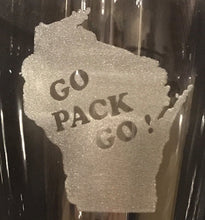 Load image into Gallery viewer, Green Bay Packers - Go Pack Go Pilsner Glass 23oz - Pikes Peak Laser Creations