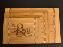 Load image into Gallery viewer, Family Name Mr & Mrs - Cutting Board - Pikes Peak Laser Creations