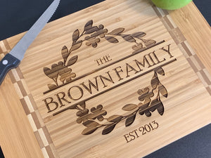 Family Name Wreath - Cutting Board - Pikes Peak Laser Creations