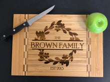 Load image into Gallery viewer, Family Name Wreath - Cutting Board - Pikes Peak Laser Creations