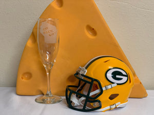 Green Bay Packers - Go Pack Go Champagne Flute 6oz - Pikes Peak Laser Creations