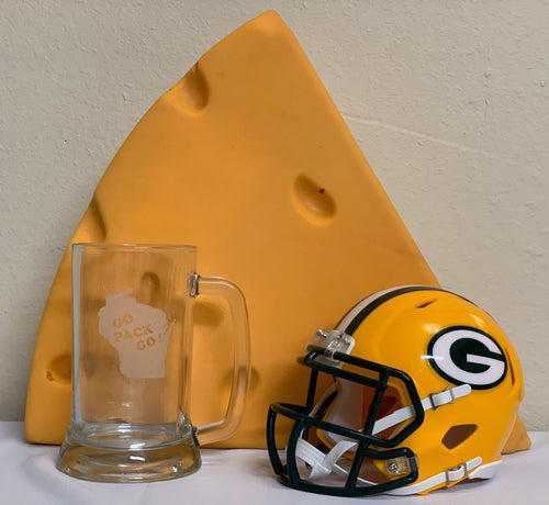 Green Bay Packers - Go Pack Go Beer Mug 16oz - Pikes Peak Laser Creations