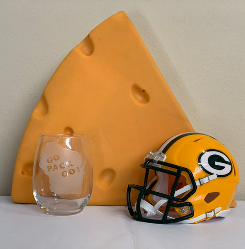 Green Bay Packers - Go Pack Go Stemless Wine Glass 17oz - Pikes Peak Laser Creations