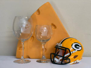 Green Bay Packers - Go Pack Go Red Wine Glass 10.5oz - Pikes Peak Laser Creations