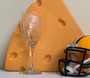 Green Bay Packers - Go Pack Go White Wine Glass 10.25oz - Pikes Peak Laser Creations
