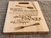 Load image into Gallery viewer, Lord of the Rings - Hobbit Meals - What About Second Breakfast Cutting Board - Pikes Peak Laser Creations