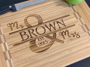 Family Name Mr & Mrs - Cutting Board - Pikes Peak Laser Creations