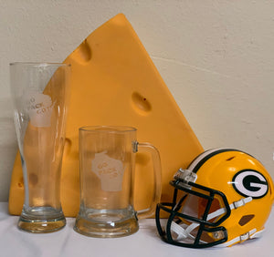 Green Bay Packers - Go Pack Go Pilsner Glass 23oz - Pikes Peak Laser Creations