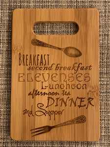 Lord of the Rings - Hobbit Meals - What About Second Breakfast Cutting Board - Pikes Peak Laser Creations