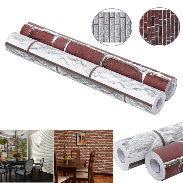 JustPeel™ 33ft Brick Wallpaper Peel and Stick for Interior Wall Decor