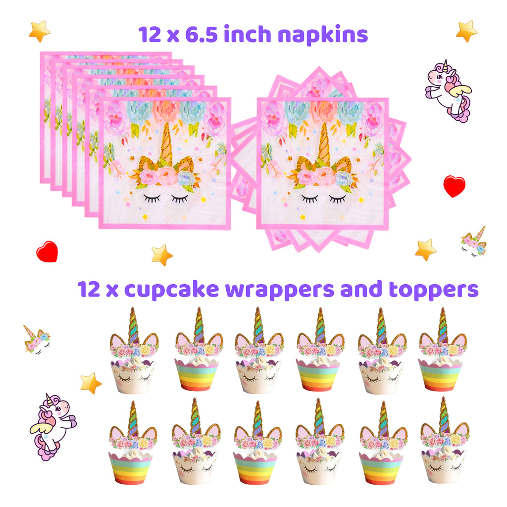 Just MiaBella Unicorn Party Supplies For Girls Birthday Set Serve 12