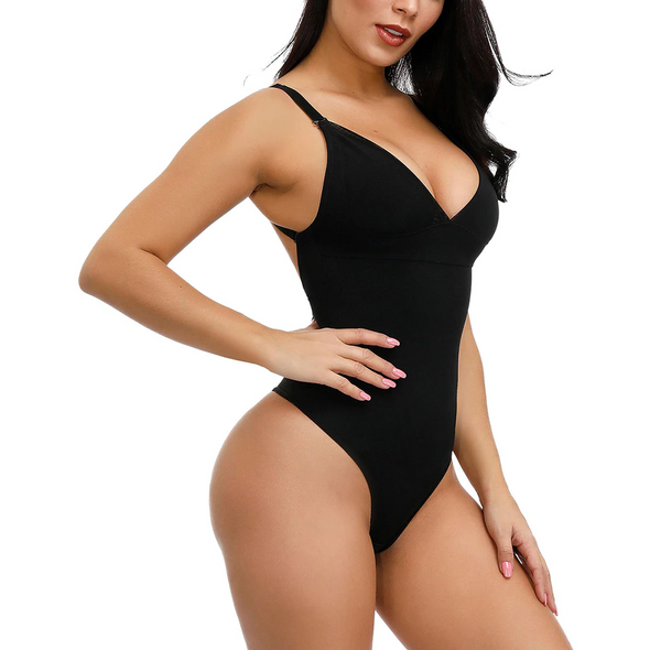 Right Shapez BEAU Woman Deep V Bodysuit Strap Body Shaper Backless Thong