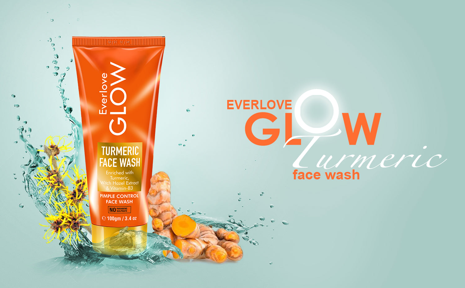 Everlove Glow Turmeric Face Wash for acne and pimples for women & Men