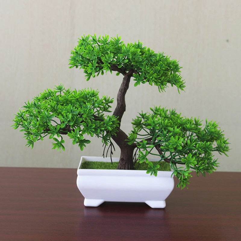 New Welcoming Pine Bonsai Simulation Artificial Potted Plant Ornament Home Decor