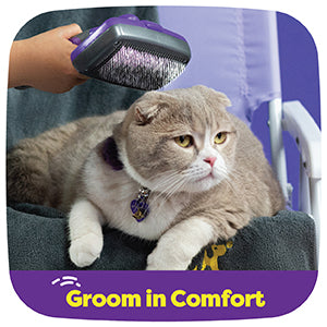 Pet Self Cleaning Slicker Brush – Gently Removes Loose Undercoat, Mats and Tangled Hair – Your Dog or Cat Will Love Being Brushed with The Grooming Brush