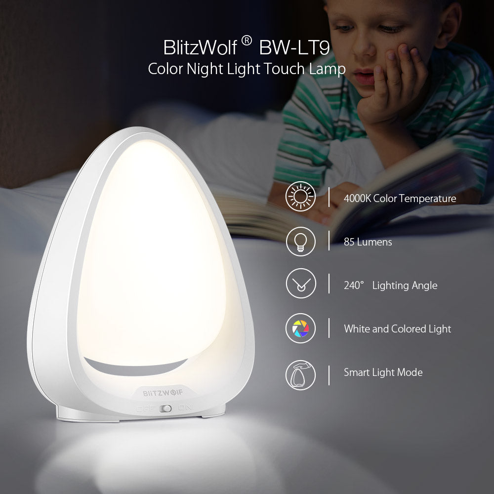 Touch Switch Color Night Light 4000K Color Temperature 85 Lumens 240° Lighting Angle Lamp