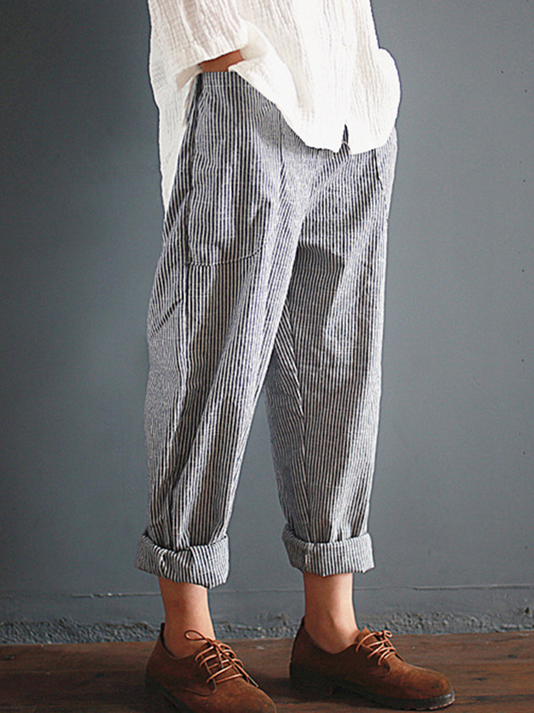 S-5XL Stripe Pocket Elastic Waist Harem Trousers