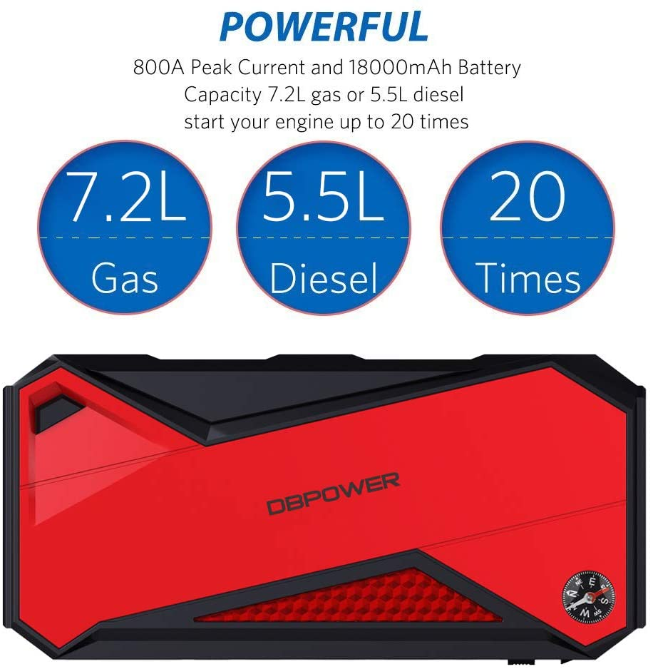 Car Jump Starter Portable 800A 18000mAh (up to 7.2L Gas, 5.5L Diesel Engine) Battery Booster with Smart Charging Port (Black/Red)