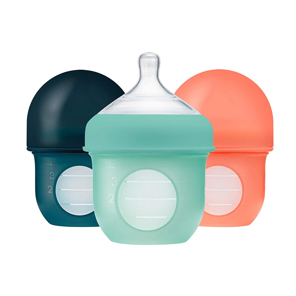 BABY Toddlers AIR-FREE Feeding Bootle: Reusable No BPA, PVA-free Silicone Pouch Bottles (Pack of 3)